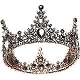 Minkissy corona barocca retrò in strass nero lussuose diademi vintage da sposa in cristallo corone da ballo per la regina pri