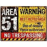 Area 51No Trespassing Military Vintagemetal Sign Aluminum Signs 17,8x 25,4cm