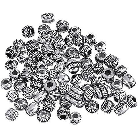 KIV - Abalorios para pulseras tipo Pandora (plata antigua)