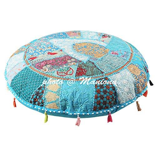 ManionaCrafts Ethnic Baumwolle indisches Bodenkissen Bezug Vintage bestickt Patchwork türkis 81,3cm hassock groß Boden Kissen für sitzend Kissenbezug (Reinigung Runde Patches)