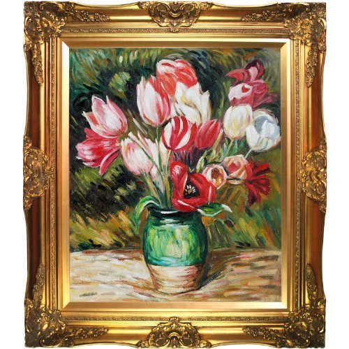 overstockart-pierre-auguste-renoir-tulips-in-a-vase-20-inch-by-24-inch-framed-oil-on-canvas-by-overs