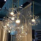 WXW Skandinavische postmoderne Beleuchtung Glaskugel kreative Blase bar Kleidung Shop Wohnzimmer Esszimmer EIN-Kopf-Kronleuchter,A,Einzelner Kopf DEN
