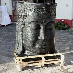 wuona Objects Grand Bouddha Fontaine 150cm pierre Statuettes Balinaise Jeu d'eau
