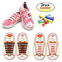 Coolnice No Tie Flat Shoelaces for Kids, Men & Women | Waterproof & Stretchy Silicone Tieless Shoe Laces | For Athletic & Dress Shoes, Hiking Boots & More | Eliminate Loose Shoelace Accidents