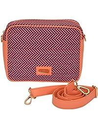 Hammer Coal PU Foam & Canvas Block Printed Sling Bag/ Cross Body Bag For Girls - B073WBLHNH