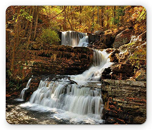 WYICPLO United States Mouse Pad, Upper Falls at Delaware Water Gap Autumn Nature Forest Scenery Cascade, Standard Size Rectangle Non-Slip Rubber Mousepad, Brown Green White - Cascade Gel