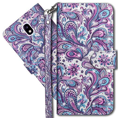 MRSTER Samsung J730 Handytasche, Leder Schutzhülle Brieftasche Hülle Flip Case 3D Muster Cover mit Kartenfach Magnet Tasche Handyhüllen für Samsung Galaxy J7 Pro J730. YX 3D - Peacock Flower -