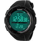 uomo sport orologio digitale - 5 barre impermeabile militare digitale orologi con allarme/timer/Sig, nero grande Face Outdoor