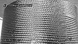 EDELSTAHL A 4 - DRAHTSEIL; STAHLSEIL; EDELSTEILSEIL 7 x 7, FELXIBEL; NIRO; ROSTFREI (3,0 mm)