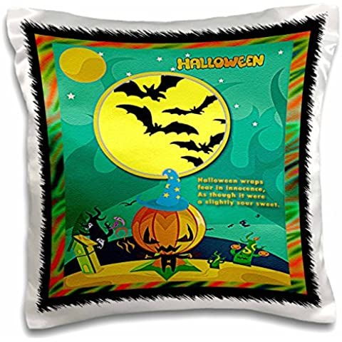 Sandy Mertens Halloween Designs - Jack o Lantern, Ghost, House, Haunted Trees, Bats and Two Yellow Moons - 16x16 inch Pillow Case