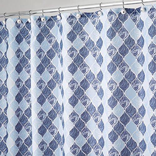 mDesign Duschvorhang mit marokkanischem Fliesenmuster - ideales Badzubehör mit perfekten Maßen: 183 cm x 183 cm - langlebige Duschgardine - Farbe: blau
