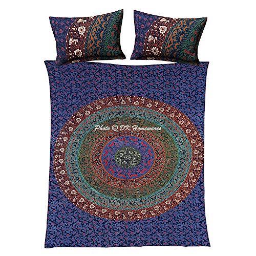 DK Homewares Bohemian Cotton Tröster Bettbezug Set Mit Kissenbezügen Dunkelblau Grün Mandala Königin Voll Gedruckt Home Decor Floral Bettbezug Sets -