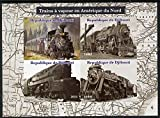 Djibouti 2015 Steam Locomotives of North America imperf sheetlet 4 values u/m RAILWAYS JandRStamps