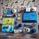 SmartKids-1 Motorikspielzeug, beschäftigtes Brett, entwickelndes Spielzeug, Handmotor (grau + grün + blau)