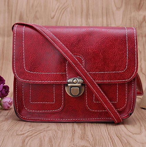 Dairyshop Borsa a tracolla in pelle di cuoio delle donne di modo Borsa del messaggero borsa del hobo Borsa della cartella (Nero) Vino Rosso