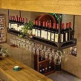 HaohaoCD Barre Sospensione Bancone Bar Cremagliera del Vino Restaurant Casalinghi Bicchieri di Vino Rack invertito Retro Arte del Ferro Cremagliere del Vino (Colore : B, Dimensioni : 60 * 35cm)
