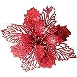 ODJOY-FAN Weihnachten Dekoration Weihnachtsbaum Anhänger Romantisch Rosette Hängend Charme Party Dekor Weihnachten Baum Ornament Blume 16CM(Rot,1 PC)