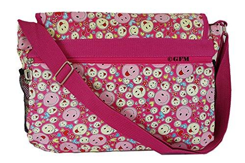 GFM bunte & robuste Mehrzweck-Design, 18 Verschiedene DESIGNS, Messenger Bag, Schultertasche für Schule, Sport, Urlaub, Strand Smiley Pink (SMLYHTSGLB)