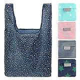 bennyuesdfd 5 Stück Einkaufstasche Wiederverwendbar Polyester Faltbar Nylon Tasche Shopping Bag