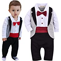 ZOEREA Baby Boys Tuxedo Outfits Gentleman Romper Jumpsuit with Bow Tie Wedding Suit 3-18 Months