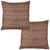 McAlister Textiles Aztec Kollektion | 2er Packung Zierkissen mit Füllung im Geometrischen Colorado-Muster 40cm x 40cm in Rot | Deko Kissen für Sofa, Bett, Couch