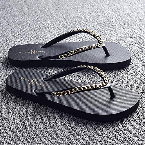 Été des sandales Pantoufles de dames Chaussons de plage féminine Beige, Noir, Marron, Blanc Couleur / taille facultative ( Couleur : Marron , taille : EU37/UK4-4.5/CN37 ) Noir