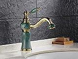Bijjaladeva Wasserhahn Bad Wasserfall Mischbatterie Waschbecken Waschtisch Armatur für BadezimmerBad Armatur antiken Jade Lackiert 360 rotierende Waschtisch Armatur Gold