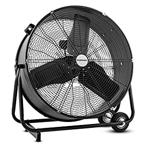"""oneConcept Giant - Ventilateur de sol industriel / brasseur d'air professionnel de 150W avec pales de 61cm/24"""" (roulettes pour transport facile, inclinable) - noir"""