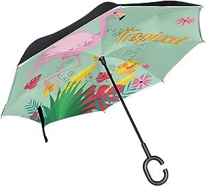 R/ückseite Regenschirm Faltbar seitenverkehrt Regenschirme Winddicht Double Layer C Griff f/ür Auto Outdoor MAILIM Rot Flamingos Muster Blaugr/ün
