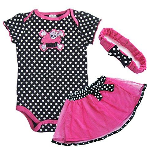 iEFiEL Baby Mädchen 3tlg Set Strampler/Wickelbody Tütü Rock Bodysuit Kleid mit Stirnband 6-24M (9-12 Monate, #1)