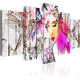 murando Cuadro en Lienzo 200x100 cm - Grande Formato - 5 partes - Impresion en calidad fotografica - Cuadro en lienzo tejido-no tejido - Pjaro Mariposa Mujer Cara Madera h-C-0036-b-m 200x100 cm