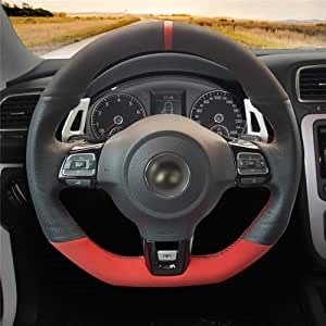 Hcdswsn Echtleder Leder Lenkradbezug Aus Wildleder Für Volkswagen Golf 6 Gti Vw Polo Gti Scirocco R Passat Cc R Line 2010 Sport Freizeit