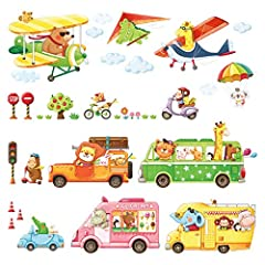 Idea Regalo - DECOWALL DAT-1806P1506C Trasporti Animali Biplani con Hang Glider Adesivi da Parete Decorazioni Parete Stickers Murali Soggiorno Asilo Nido Camera da Letto per Bambini