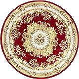 GXQL Runde Teppich Nordeuropa Red Pattern Rutschfeste verschleißfeste Stuhl Kissen Dekoration Innen Teppich,160 * 160cm