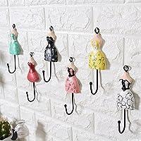 Wooden Iron Princess skirt hook up Creative Coat hook Single hook Wall decoration A set of six pieces