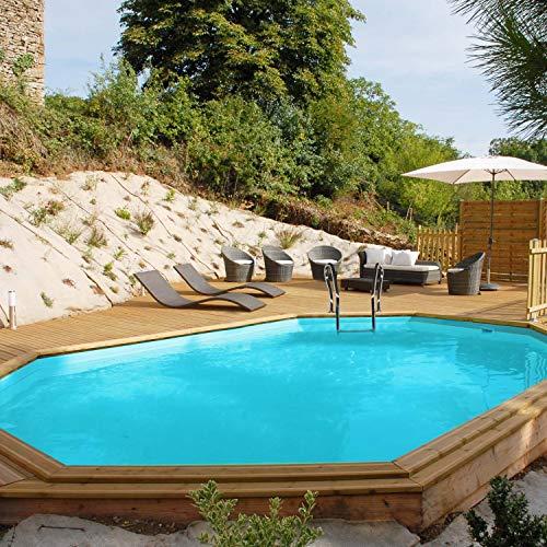 Jardimagine - Piscine Bois Wasabi 6,20 M X 3,95 M X H. 1,27 M - Couleur Liner - Bleu