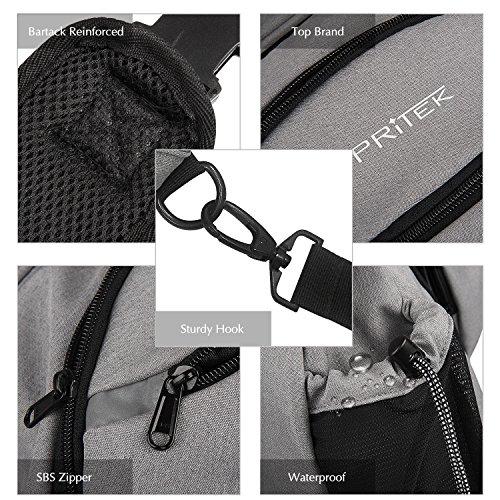 Impermeabile Crossbody Sling Bag, PRITEK chest bag Borsa Messenger Bag Borsa a Tracolla Perfetti per Esterni Trekking Escursionismo Viaggio Trekking Campeggio Scuola Grigio