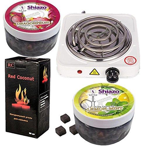 NOVESTE Elektrischer Kohleanzünder 1000W Weiß, mit 96 Stück Shishakohle (1KG) + 2x 100g Shiazo Dampfsteine