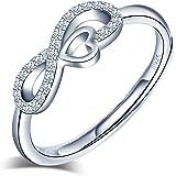 Anelli aperto in argento 925 per donna, anello simbolo infinito intarsiato con zircone - anelli di fidanzamento di nozze - Mi