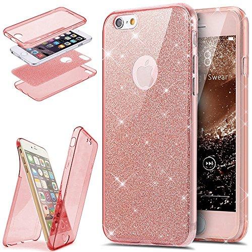 EUWLY [360 Gradi Full Body Protettiva Custodia Sparkling Glitter Custodia Cover] Silicone Custodia per iPhone 7/iPhone 8,Cover TPU Custodia Case Bling Trasparente Morbido Plastica Protezione Completa  Rosa