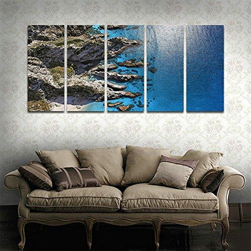 Cyioart - 5 pannelli dipinti di arte della parete della tela per complementi d'arredo quadri astratti moderni paesaggi naturali opere d'arte immagini per soggiorno decorazione veduta aerea di terrestri e marini stampe fotografiche su tela (49