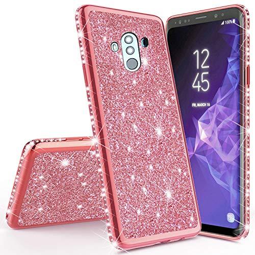 Miagon für Huawei Mate 10 Pro Glitzer Hülle,Bling Überzug Glänzend Strass Diamant Weich TPU Silikon Handy Hülle Etui Tasche Schutzhülle Case Cover Touch Pro Handys