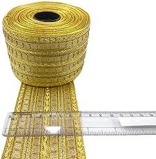 Crisskross Gotta Patti Lace Border, Designer for Dress/Sarees/Lehenga/Suits/Blouses and Craft Zari/Offwhite/ Golden/ 7cm X 9meters Pack