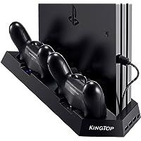 KingTop PS4 Supporto Verticale con 2 Ventola di Raffreddamento, PS4 Stazione di Ricarica Charger All-in-One per Doppia…