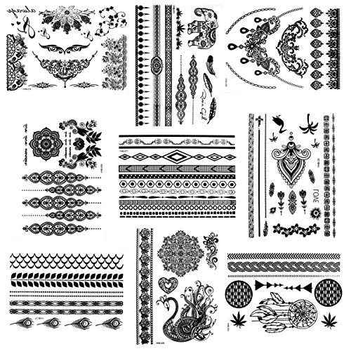 Natuce tatuaggi temporanei, 9 fogli pizzo nero impermeabile adesivo tatuaggio temporaneo tattoo adesivi per adulti uomo donna