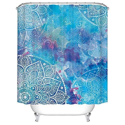 YONG-SHENG Indische Mandala Duschvorhang Digital Gedruckt Wasserdicht und Mildewproof Polyester Gewebe Wohnaccessoires Eingestellt mit Haken 180cm x 180cm (Style 19)
