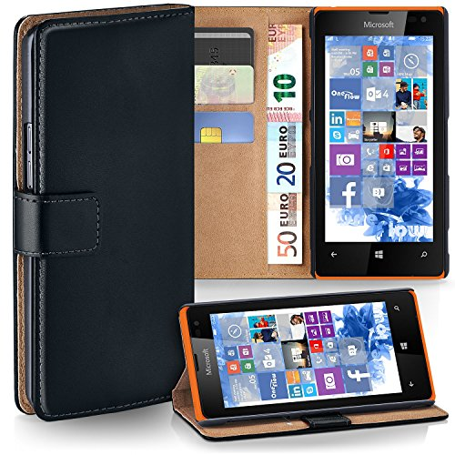 moex Microsoft Lumia 435 | Hülle Schwarz mit Karten-Fach 360° Book Klapp-Hülle Handytasche Kunst-Leder Handyhülle für Nokia Lumia 435 Case Flip Cover Schutzhülle Tasche
