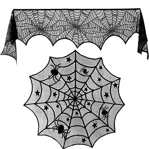 (Blulu 18 mal 96 Zoll Halloween Spitze Spinnennetz Kamin Kaminsims und 40 Zoll Runde Tischdecke Spitze Spinnennetz Netz Tischabdeckung Topper für Halloween Haus Party Supplies, 2 Stück Total)