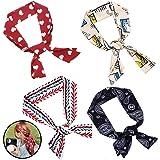 Set di 4 Foulard Donna per come accessorio per capelli,Multifunzione Sciarpa per donna decorazione per collo, cinturino, fasc
