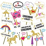 #4: Party Propz™ Unicorn Photobooth set of 26 Pieces / Unicorn Party Supplies / Unicorn Party Decoration / Unicorn Photo Booth Props / Unicorn Theme Photo Props